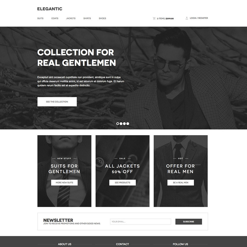 Templates And Examples: Elegantic Free Responsive Retailer Website Template