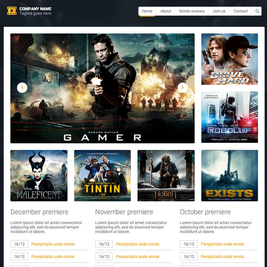 Movie reviews responsive website template for Diwan movie templates
