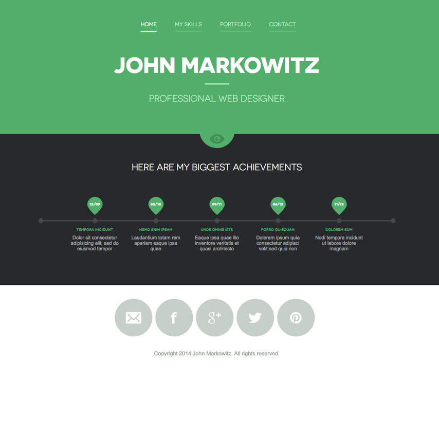 free john markowitz responsive portfolio website template. Black Bedroom Furniture Sets. Home Design Ideas