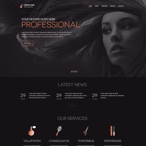 Beauty salon responsive website template free download.