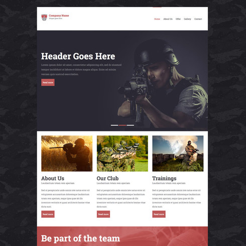 Free Paintball Responsive Template
