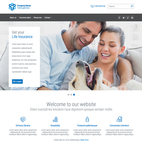 free insurance bootstrap template  Insurance Responsive Website Template