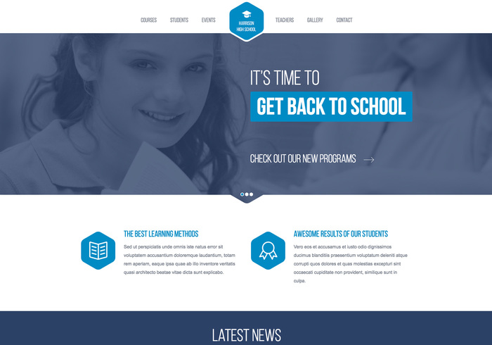 High School Responsive Website Template - Membership website templates free