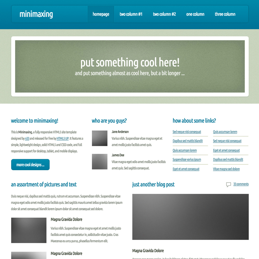 Minimaxing responsive website template for Free responsive website templates