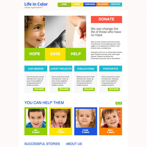 Clean & Colorful Charity Free Responsive Template