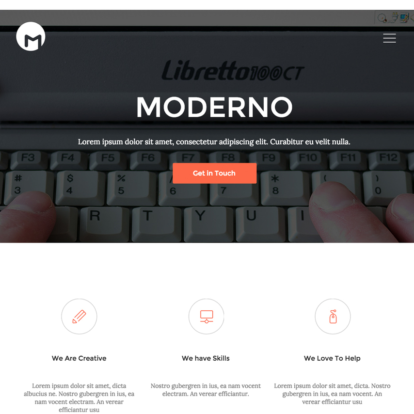 Moderno One Page Portfolio Bootstrap Responsive Template