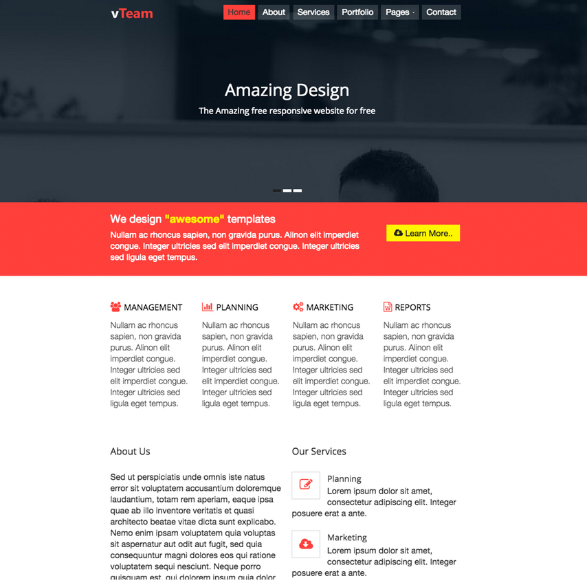 vteam free bootstrap html5 website template