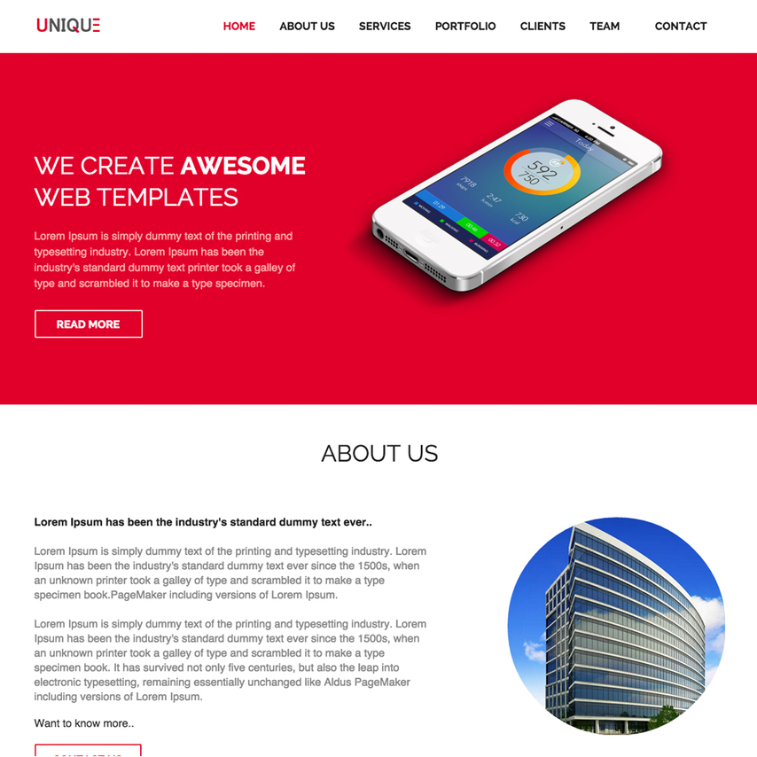 unique free responsive website template - Free Responsive Website Templates