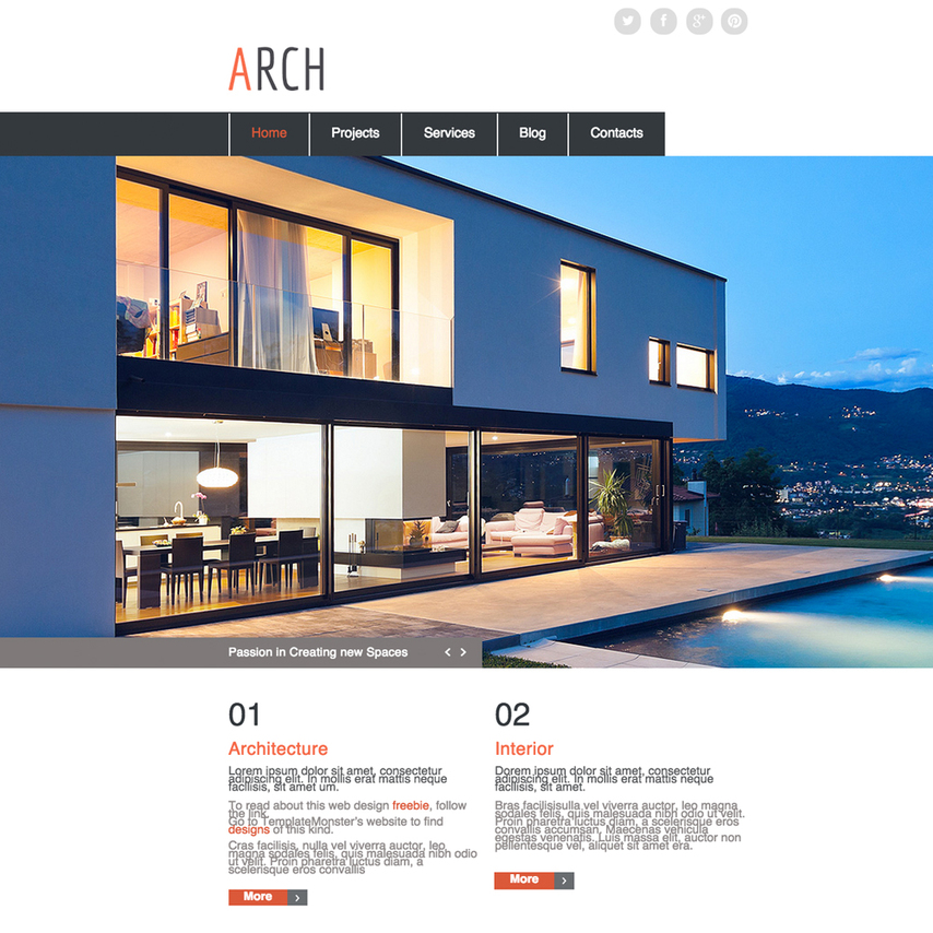 Architecture responsive website template for Architectural websites