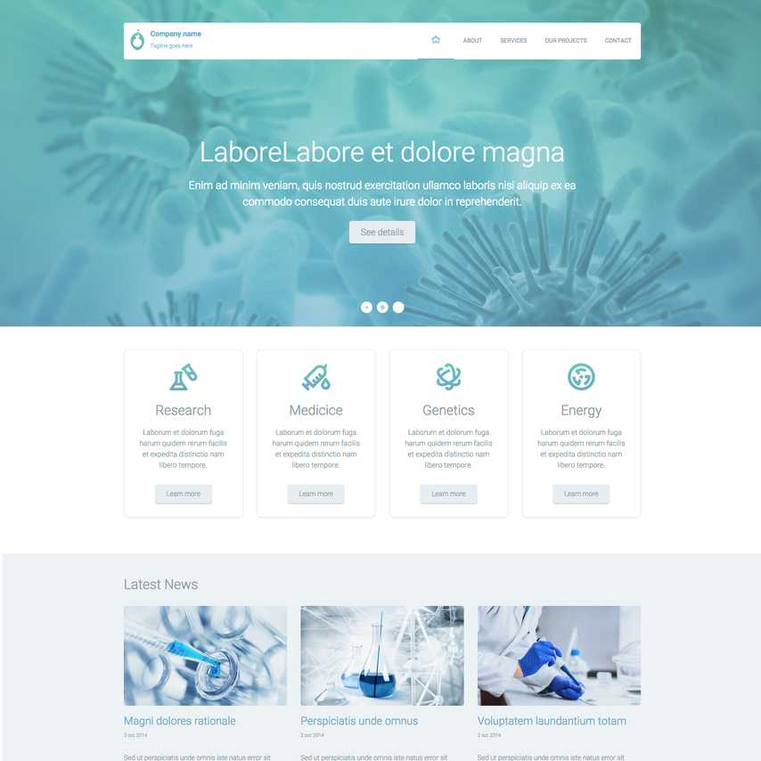 science lab free responsive website template, Powerpoint templates