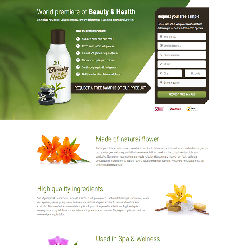Health beauty free responsive website template for Free responsive website templates