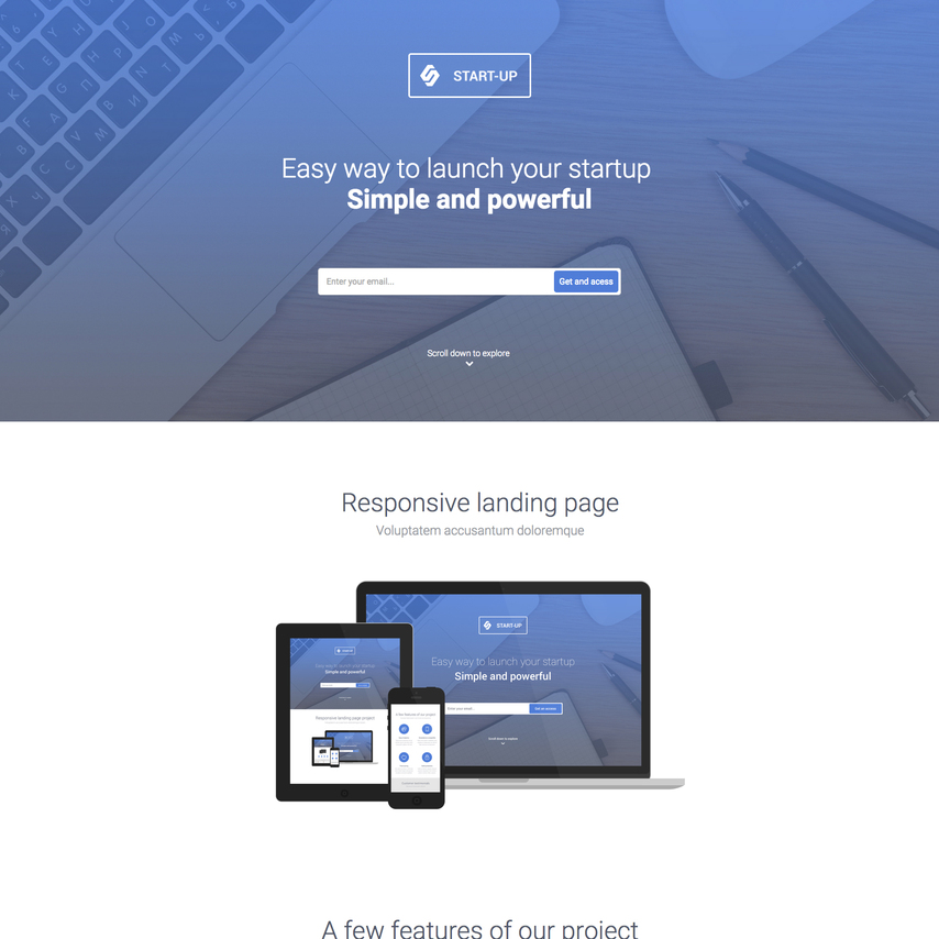 Startup business free responsive website template accmission Gallery