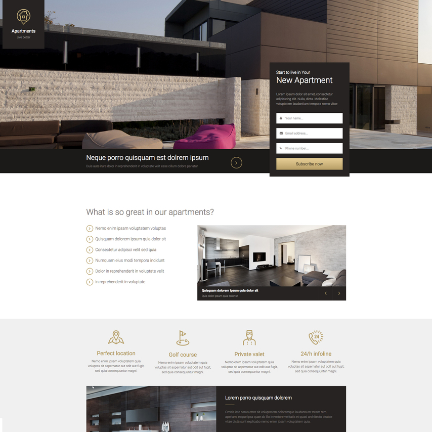 Real estate landing page free responsive website template for Responsive stylesheet template