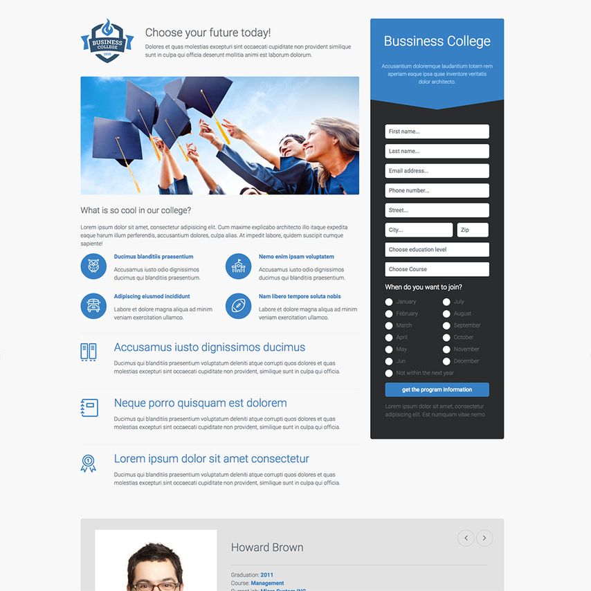College landing page free responsive website template for Free responsive website templates