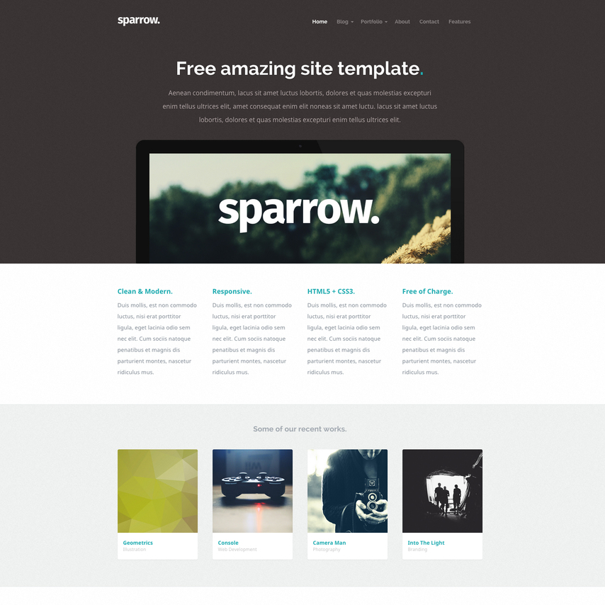 Sparrow portfolio free responsive template for Free portfolio website templates