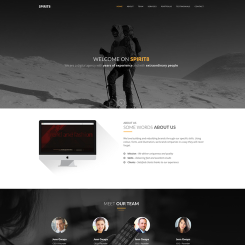 Spirit8 Service Agency Responsive Bootstrap Template