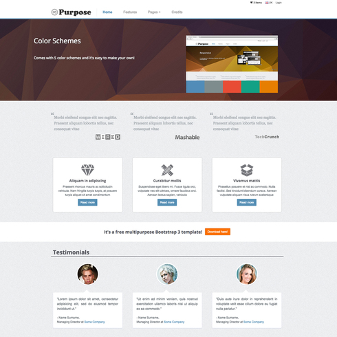 MPurpose Free Responsive Ecommerce Website Template - Buy ecommerce website templates