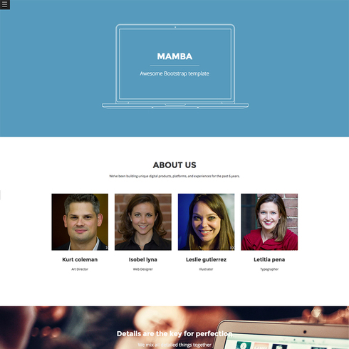 Mamba Free Responsive Bootstrap Template