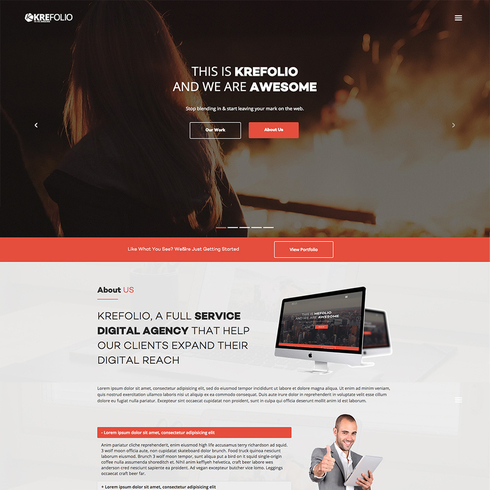 KreFolio Design Agency Free Responsive Bootstrap Template