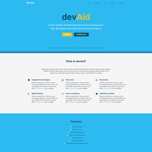 DevAid Free Responsive Bootstrap Template