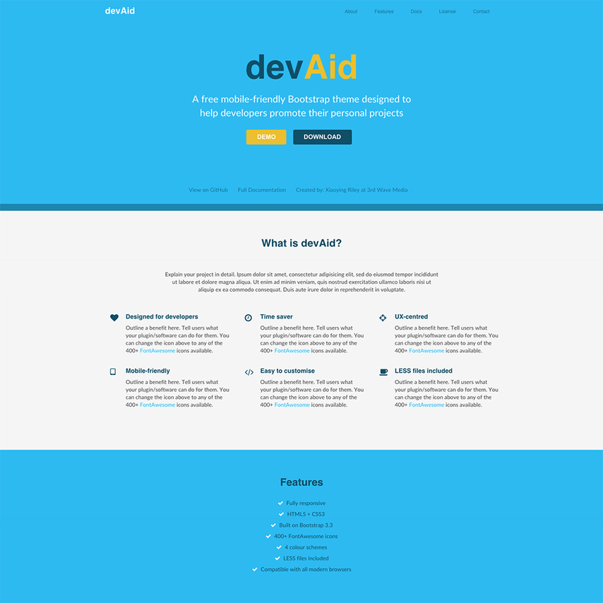 devaid free responsive bootstrap website template. Black Bedroom Furniture Sets. Home Design Ideas