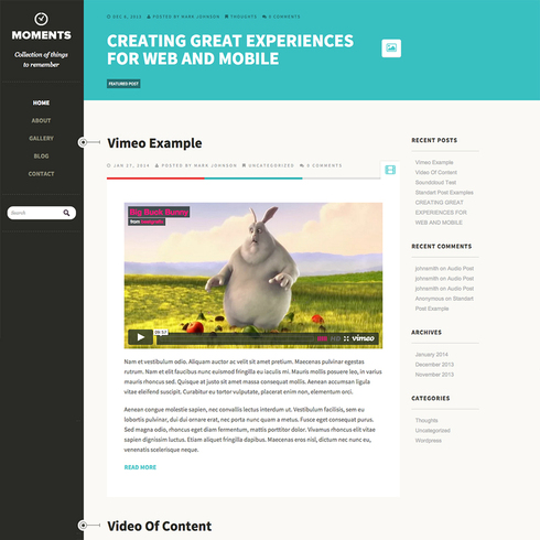 Moments - Free Responsive WordPress Theme
