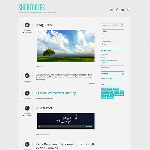 Shortnotes - Free Responsive WordPress Theme