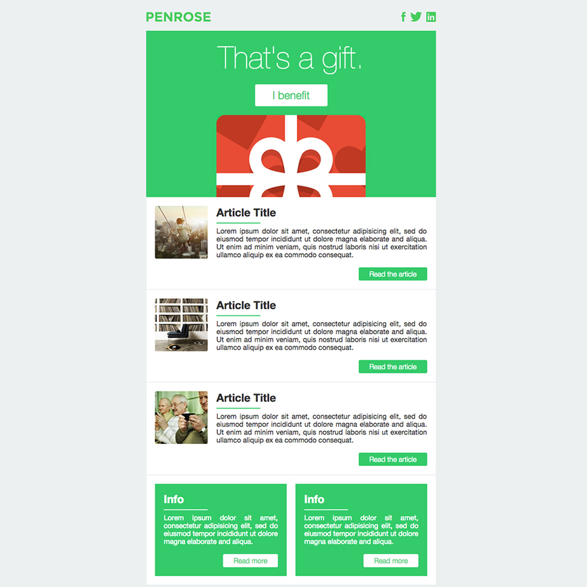 Penrose free responsive email template for Free responsive email templates
