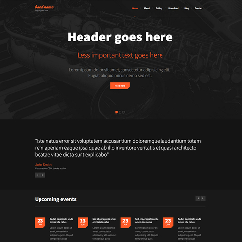 Music Band Free Responsive Website Template - Music website templates