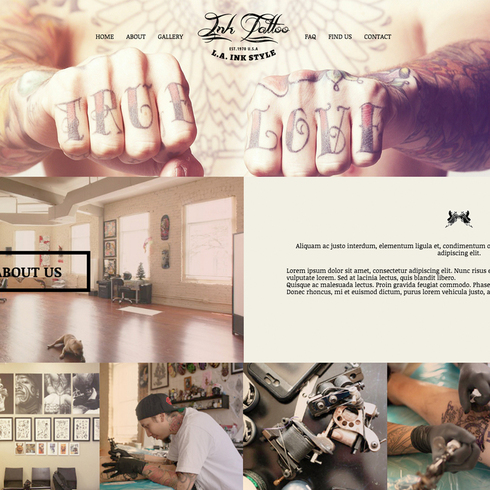 Ink Tattoo Free Responsive Website Template